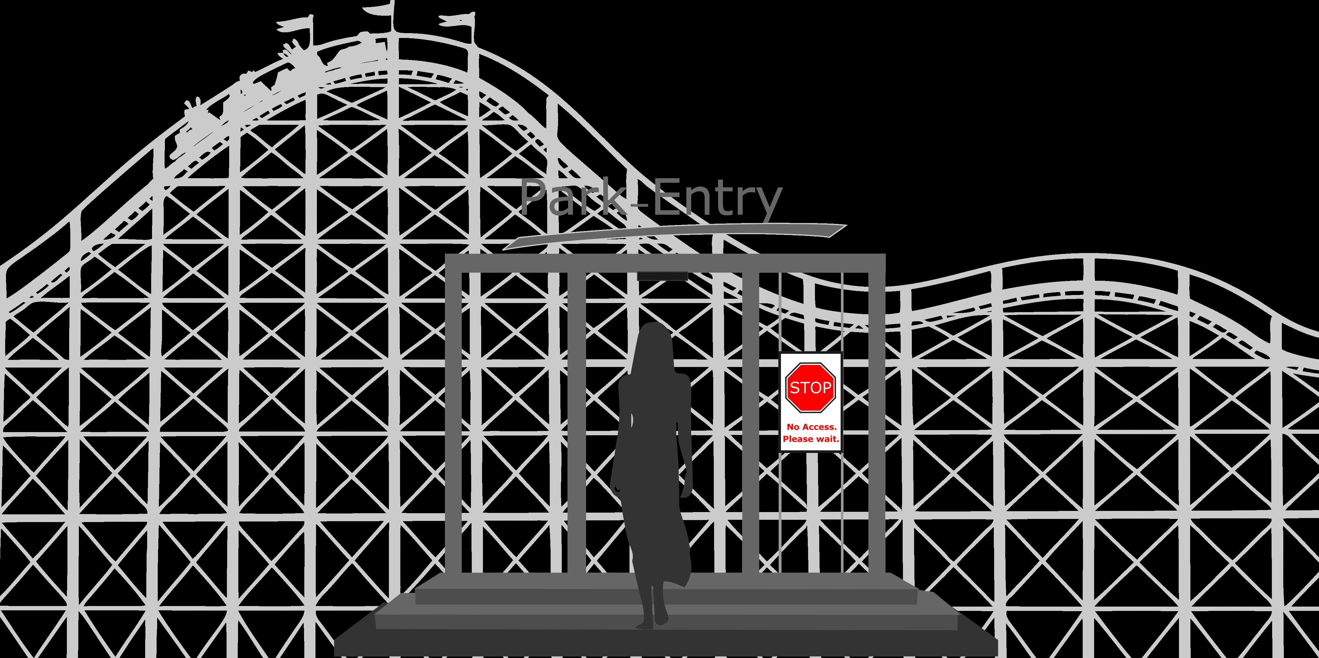 Themepark crowd management traffic lights / access control